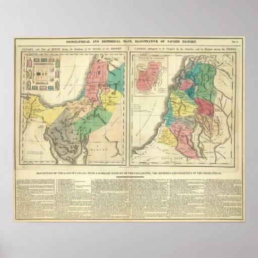Mapa del atlas de Canaan - de Israel Posters