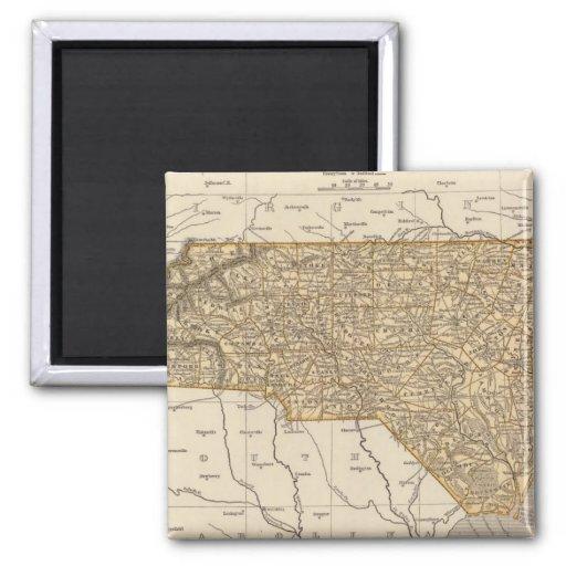 Mapa del atlas de Carolina del Norte Imán Cuadrado