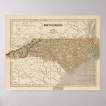 Mapa del atlas de Carolina del Norte Póster