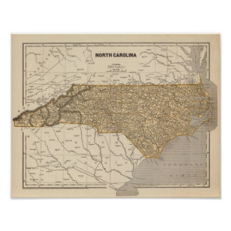 Mapa del atlas de Carolina del Norte Posters