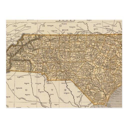 Mapa del atlas de Carolina del Norte Tarjeta Postal