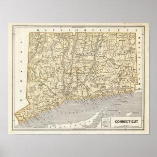 Mapa del atlas de Connecticut Póster