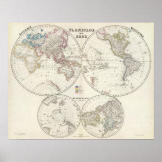 Mapa del atlas de Erde del der de Planiglob Posters