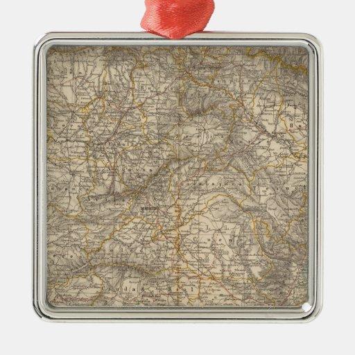 Mapa del atlas de España y de Portugal Adorno Navideño Cuadrado De Metal