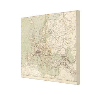 Mapa del atlas de Europa que muestra los ferrocarr Lona Envuelta Para Galerías