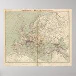 Mapa del atlas de Europa que muestra los ferrocarr Impresiones