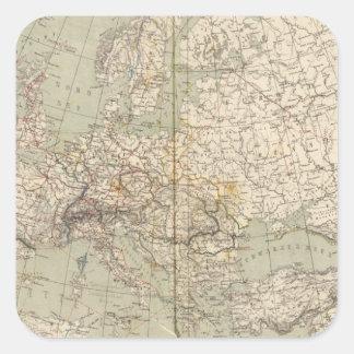 Mapa del atlas de Europa que muestra los ferrocarr Calcomanías Cuadradass Personalizadas
