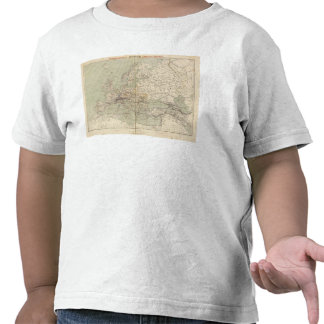 Mapa del atlas de Europa que muestra los ferrocarr Camiseta