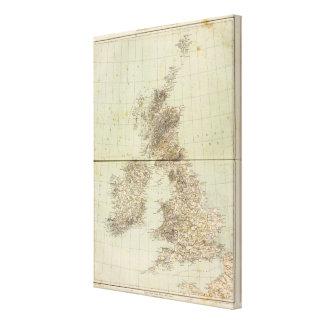 Mapa del atlas de Gran Bretaña Lienzo Envuelto Para Galerias