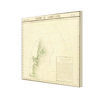 Mapa del atlas de Groenlandia Lienzo Envuelto Para Galerías