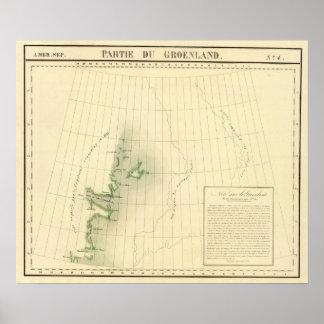 Mapa del atlas de Groenlandia Póster