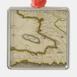 Mapa del atlas de Haití Adorno Cuadrado Plateado