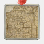 Mapa del atlas de Illinois Adorno Navideño Cuadrado De Metal