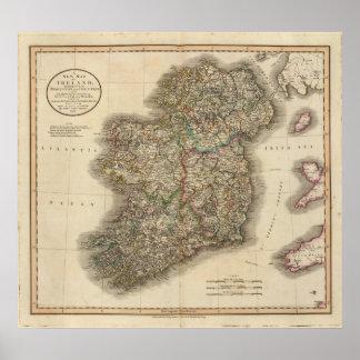 Mapa del atlas de Irlanda Póster