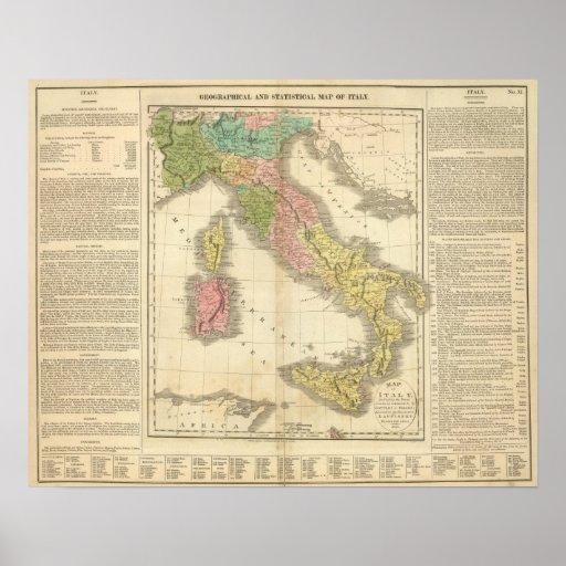 Mapa del atlas de Italia Chonology Póster