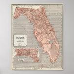 Mapa del atlas de la Florida Póster