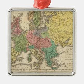 Mapa del atlas de la religión de Europa Adorno Navideño Cuadrado De Metal