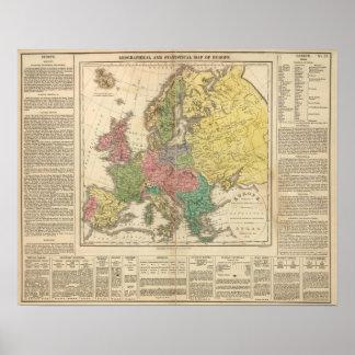 Mapa del atlas de la religión de Europa Póster