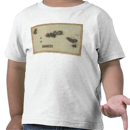 Mapa del atlas de las islas de Azore Camisetas