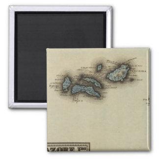 Mapa del atlas de las islas de Azore Imán Cuadrado