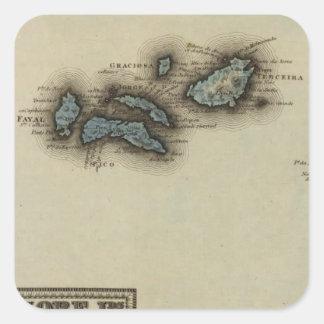 Mapa del atlas de las islas de Azore Pegatina Cuadrada