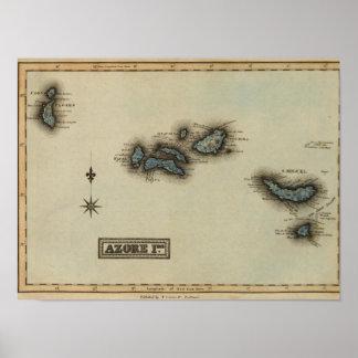 Mapa del atlas de las islas de Azore Póster
