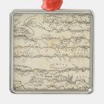 Mapa del atlas de los ríos adorno navideño cuadrado de metal