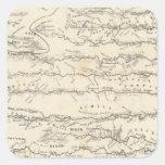Mapa del atlas de los ríos pegatina cuadrada