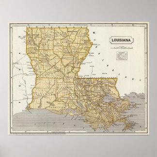 Mapa del atlas de Luisiana Posters