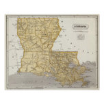 Mapa del atlas de Luisiana Póster