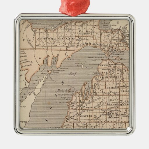 Mapa del atlas de Michigan Adorno Navideño Cuadrado De Metal