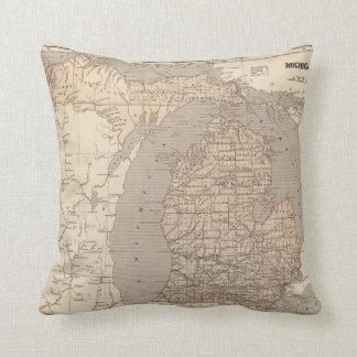 Mapa del atlas de Michigan Cojín Decorativo