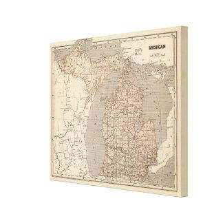 Mapa del atlas de Michigan Impresión En Lienzo
