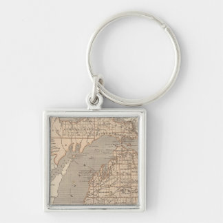 Mapa del atlas de Michigan Llavero Cuadrado Plateado
