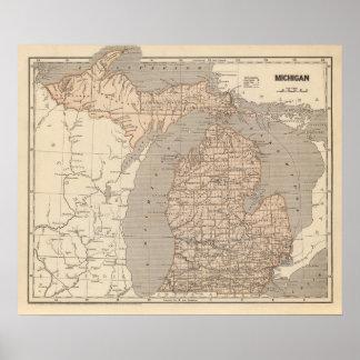 Mapa del atlas de Michigan Póster