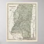 Mapa del atlas de Mississippi Póster