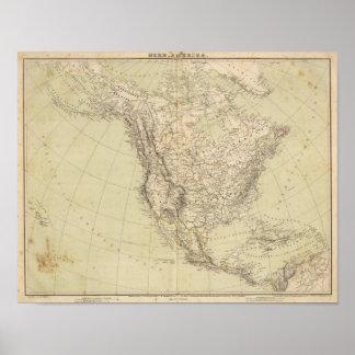 Mapa del atlas de Norteamérica que muestra las tri Póster