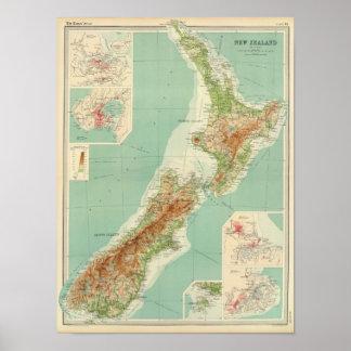 Mapa del atlas de Nueva Zelanda Póster