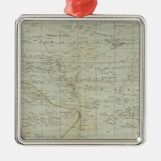 Mapa del atlas de Oceanía Adorno Cuadrado Plateado