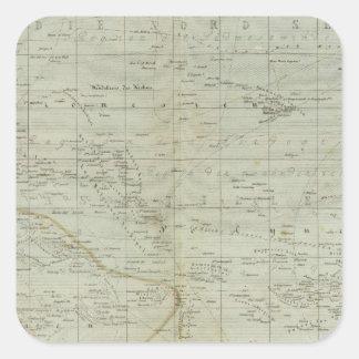 Mapa del atlas de Oceanía Pegatina Cuadrada
