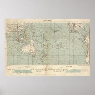Mapa del atlas de Oceanía Poster