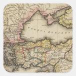 Mapa del atlas de Oriente Medio Calcomanías Cuadradas Personalizadas