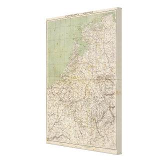Mapa del atlas de Países Bajos y de Bélgica Lienzo Envuelto Para Galerias