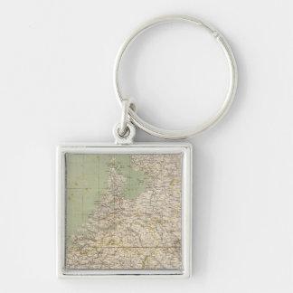 Mapa del atlas de Países Bajos y de Bélgica Llavero Cuadrado Plateado