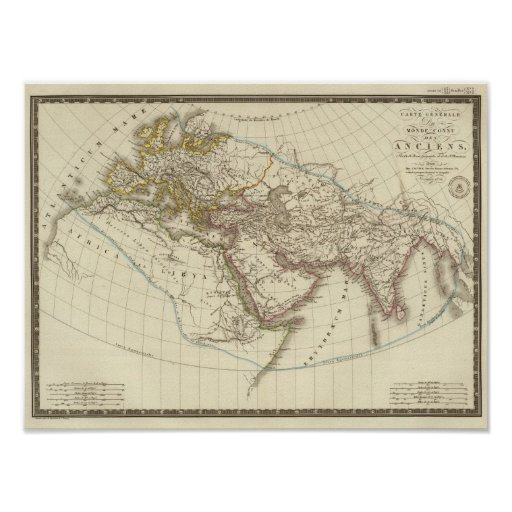 Mapa del atlas de París Poster