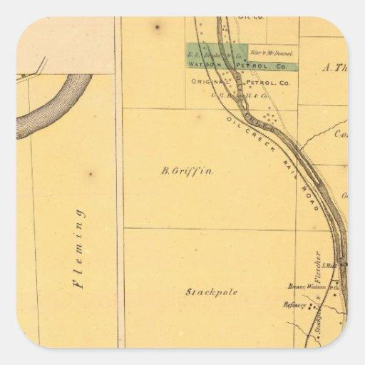 Mapa del atlas de Pennsylvania de la cala del Pegatina Cuadrada