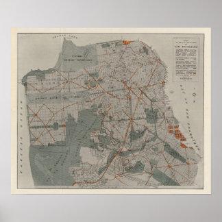 Mapa del atlas de San Francisco que muestra lugare Póster