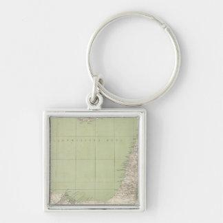 Mapa del atlas de Sinaí, Egipto, Siria Llavero Cuadrado Plateado