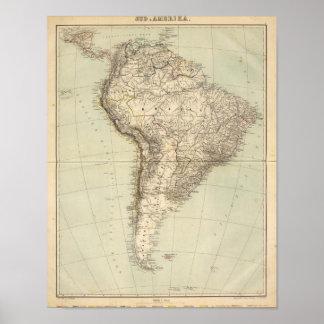 Mapa del atlas de Suramérica Póster