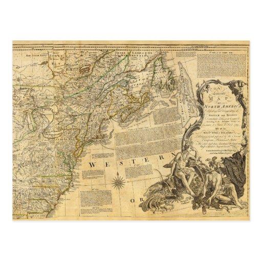 Mapa del atlas del americano de Thomas Jefferys Postales